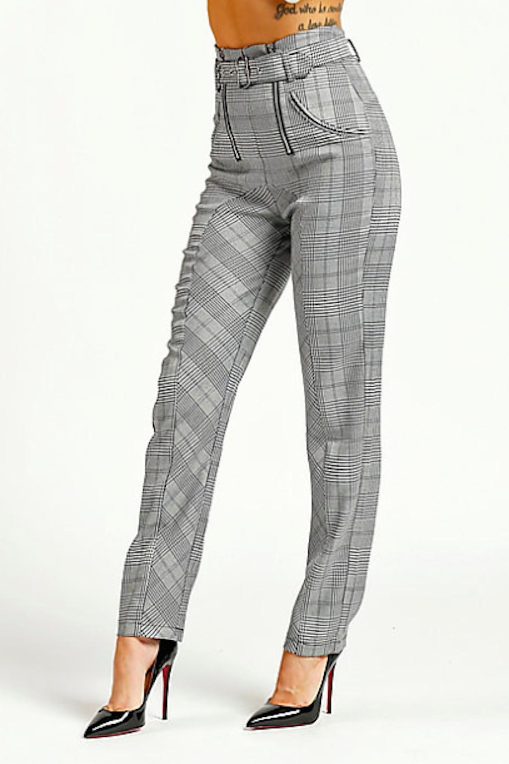 TIMELESS Checkered Pants - Front Full Image