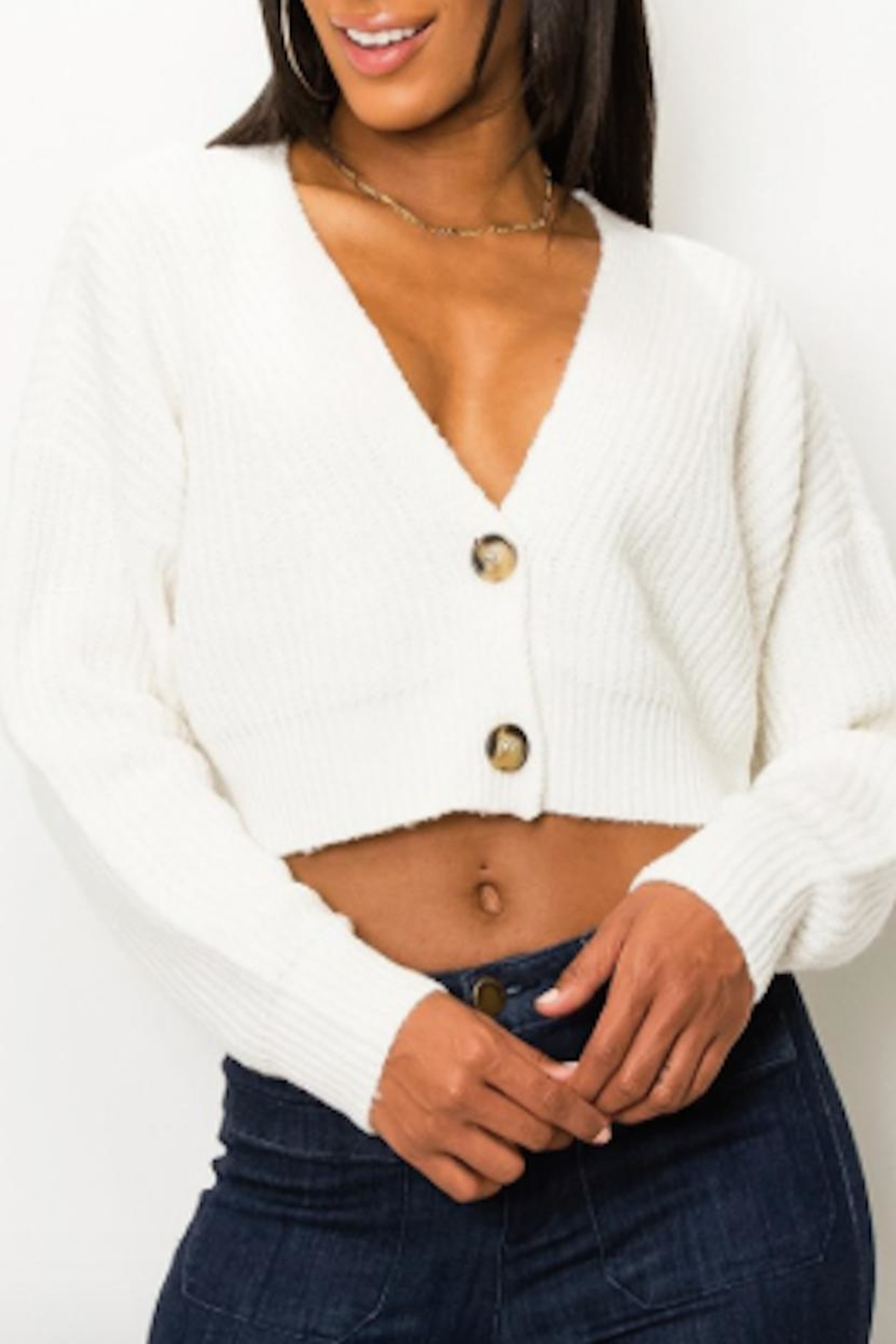 TIMELESS Fuzzy Cardigan - Front Cropped Image