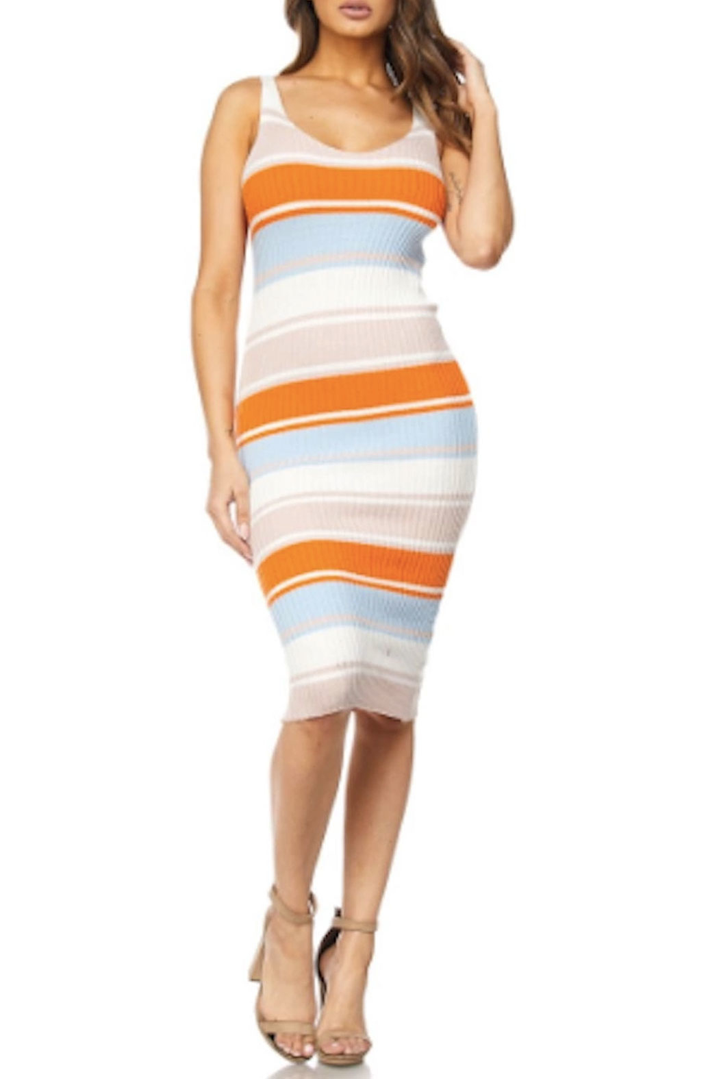 TIMELESS Stripe Rib Dress - Front Cropped Image