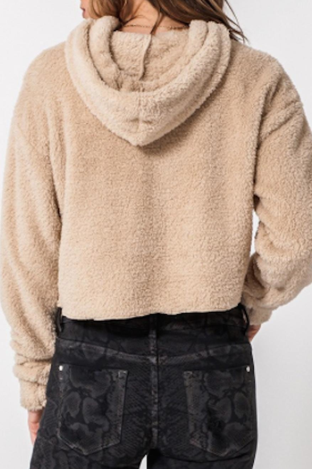 TIMELESS Teddy Cropped Hoodie - Side Cropped Image