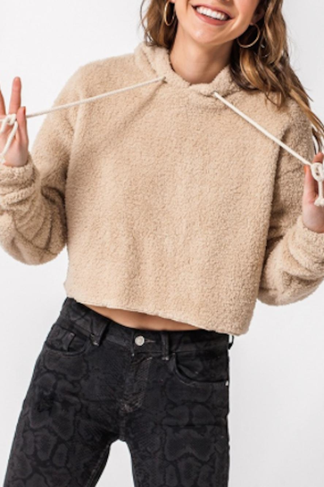 TIMELESS Teddy Cropped Hoodie - Main Image