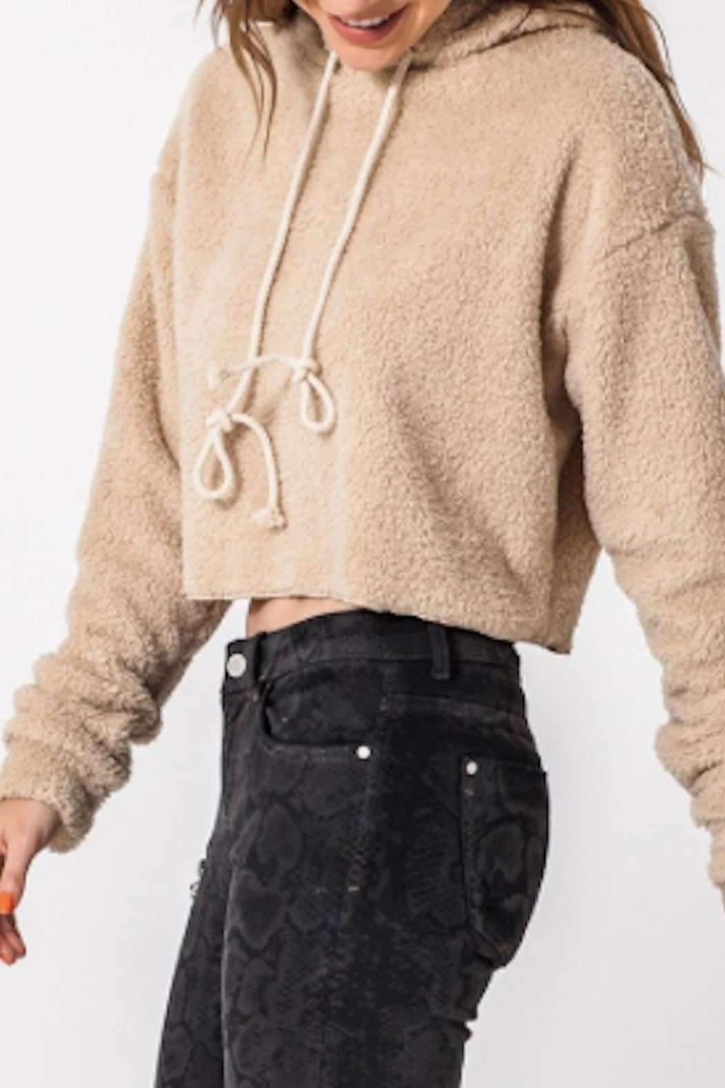 TIMELESS Teddy Cropped Hoodie - Front Full Image