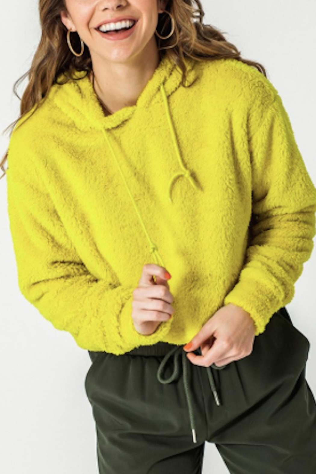 TIMELESS Teddy Cropped Hoodie - Front Cropped Image