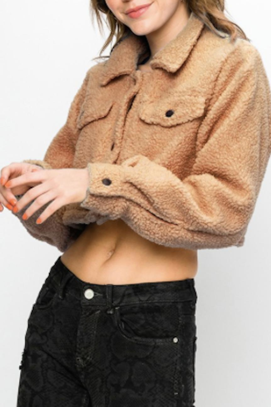 TIMELESS Teddy Cropped Jacket - Side Cropped Image
