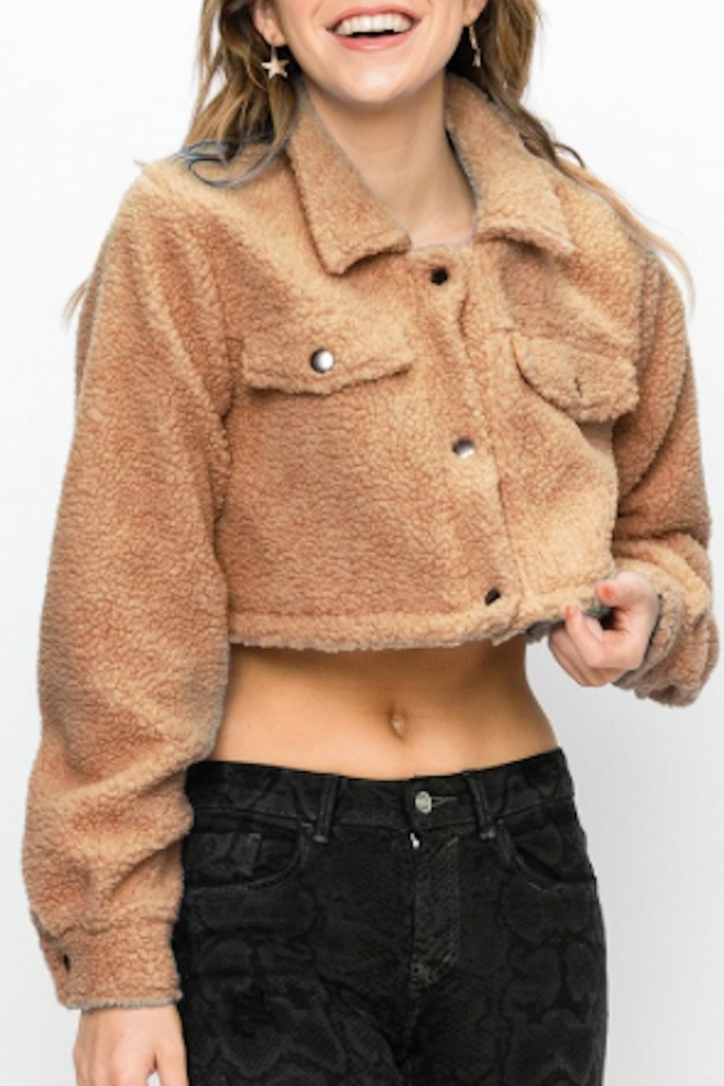 TIMELESS Teddy Cropped Jacket - Front Full Image
