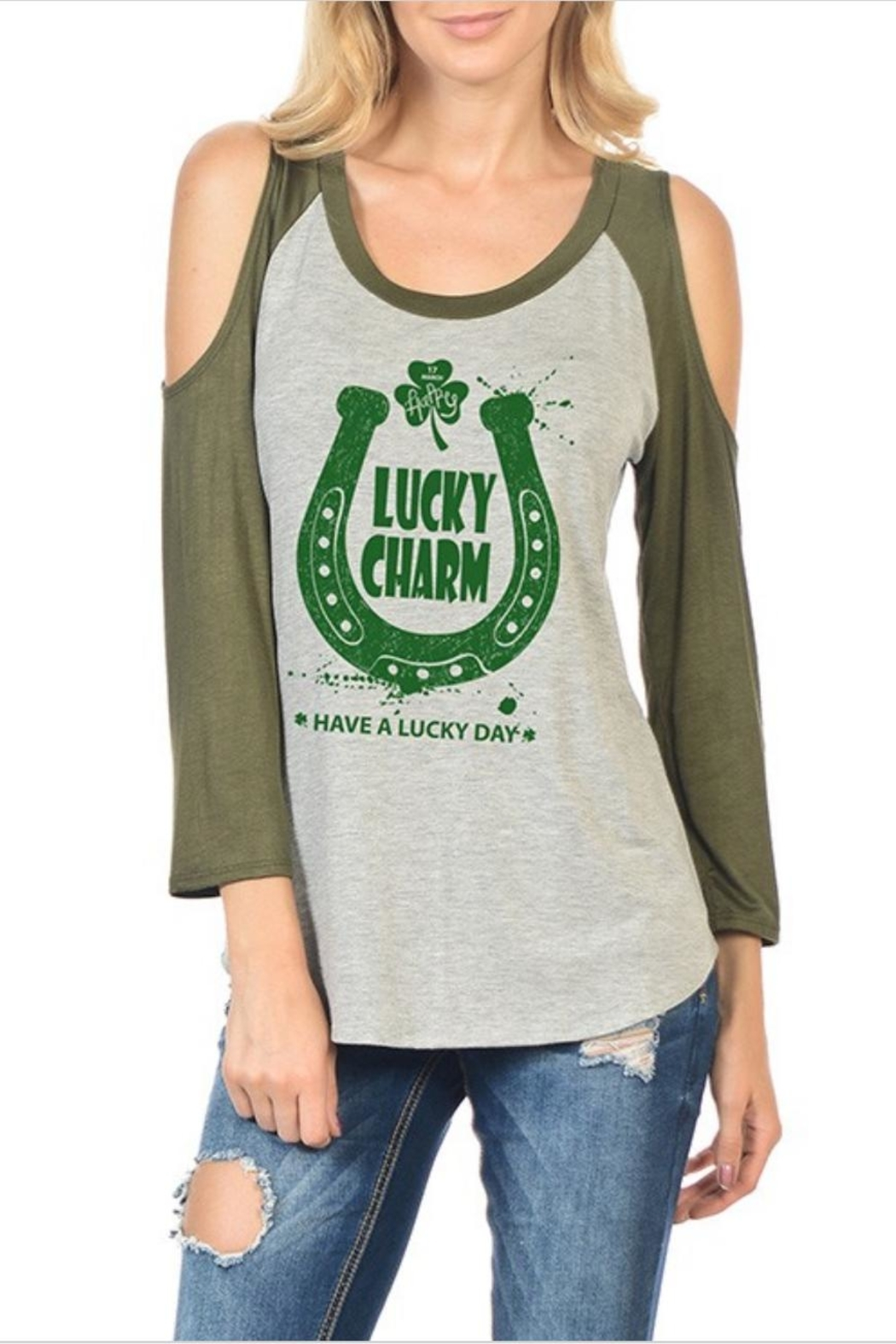 Timeline Cold-Shoulder Lucky-Charm Tee - Main Image
