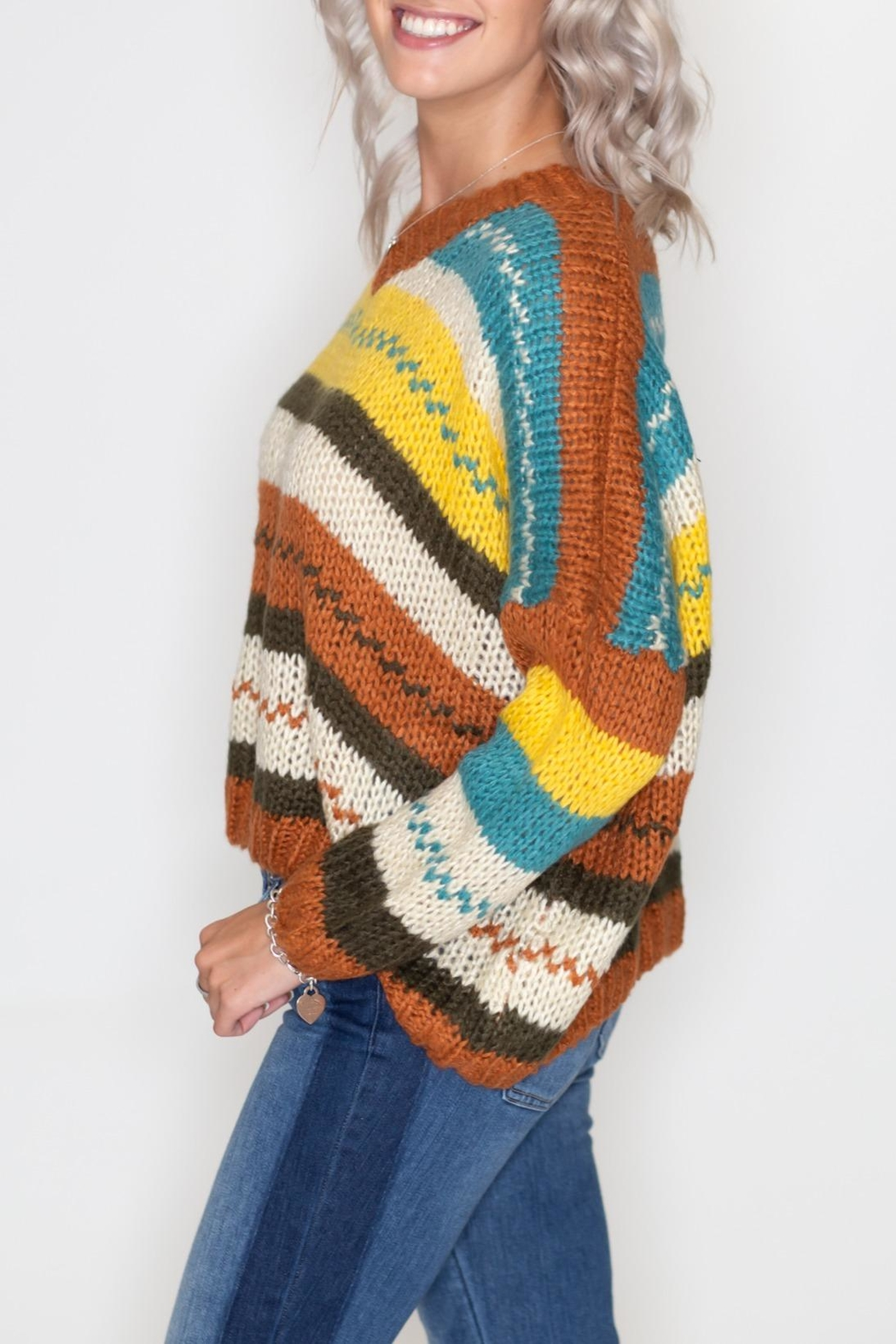 Timing Autumn Striped Sweater - Front Full Image