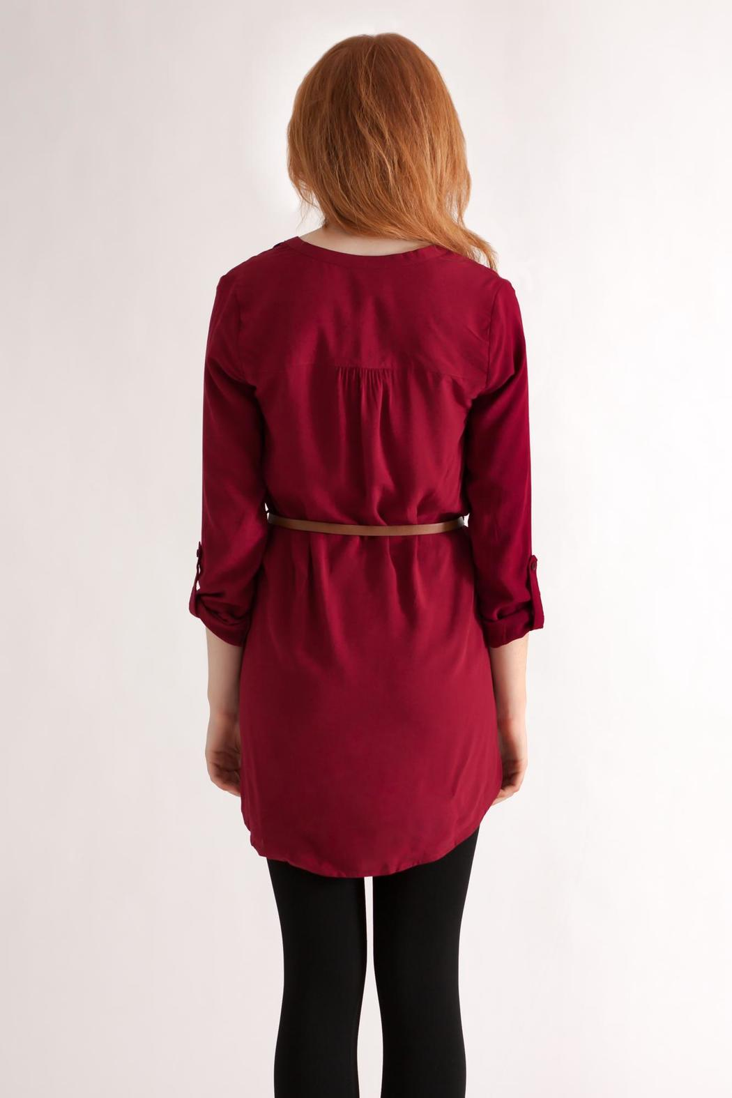 Timing Challis Belted Shirt - Back Cropped Image