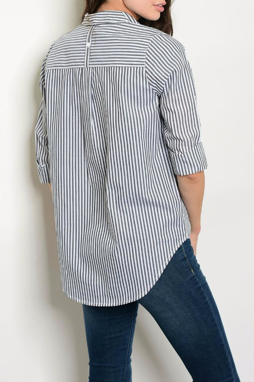 Timing Charcoal Stripe Blouse - Front Full Image