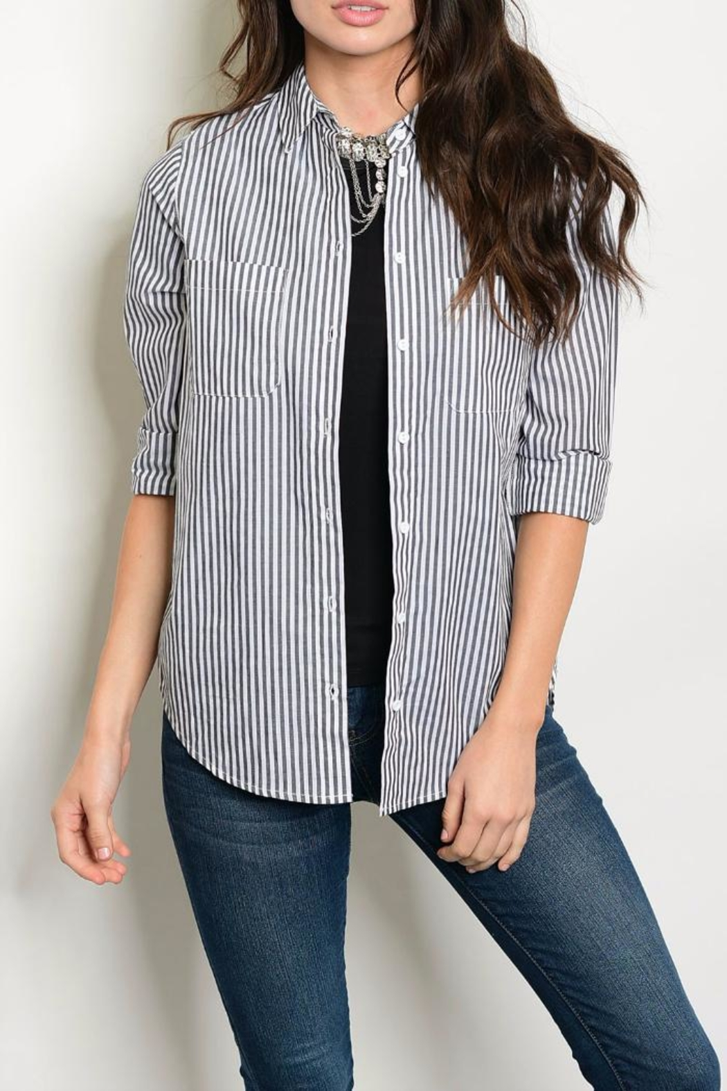 Timing Charcoal Stripe Blouse - Main Image