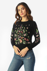 Timing Floral Embroidered Top - Front full body
