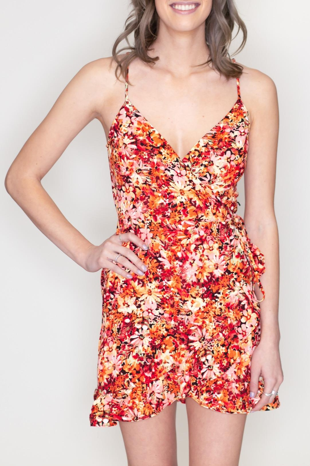 Timing Floral Surplice Dress - Front Full Image