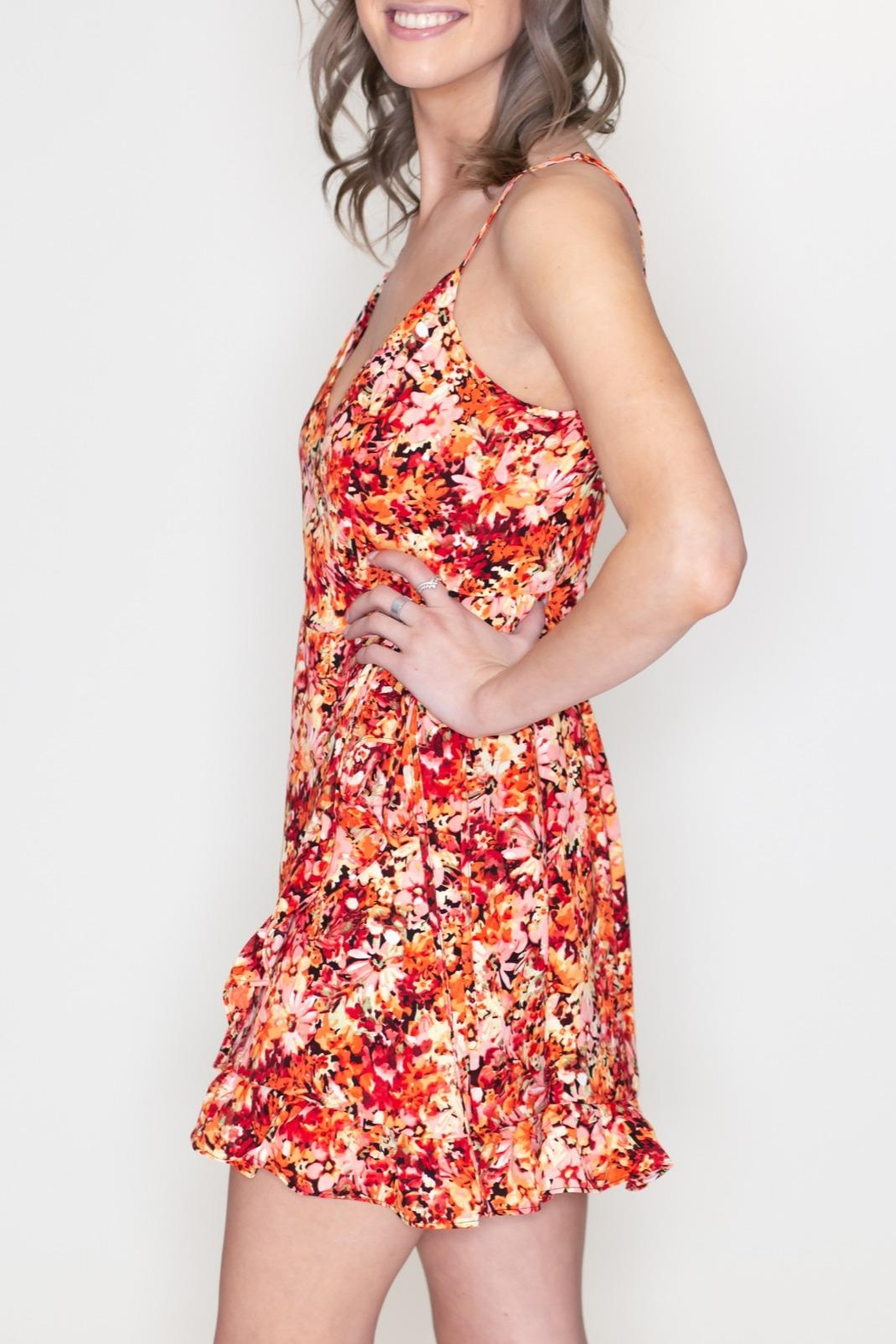 Timing Floral Surplice Dress - Side Cropped Image