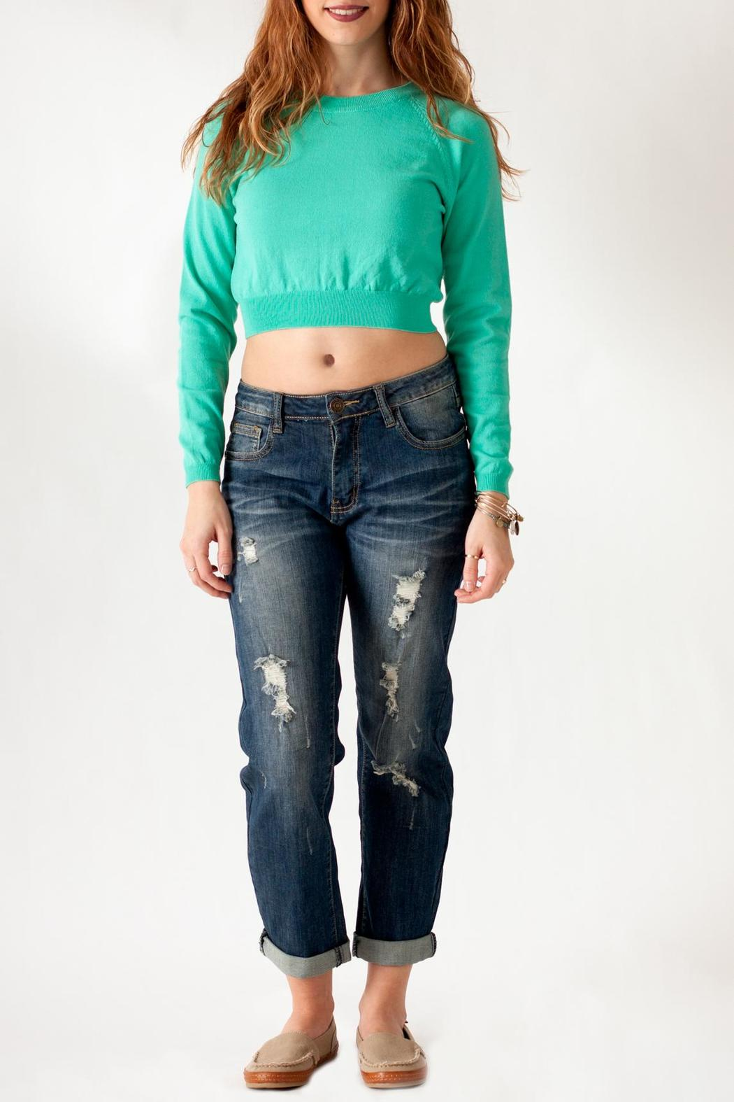 Timing Jade Crop Sweater - Front Full Image
