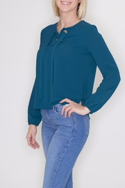Timing Lace-Up Grommet Top - Front full body