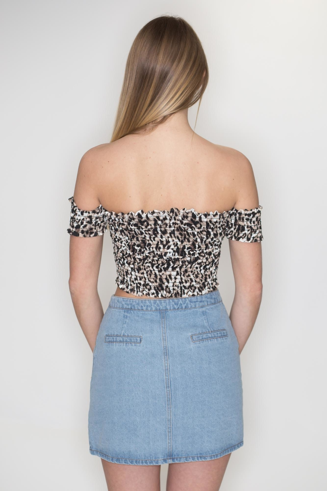 Timing Leopard Crop Top - Side Cropped Image