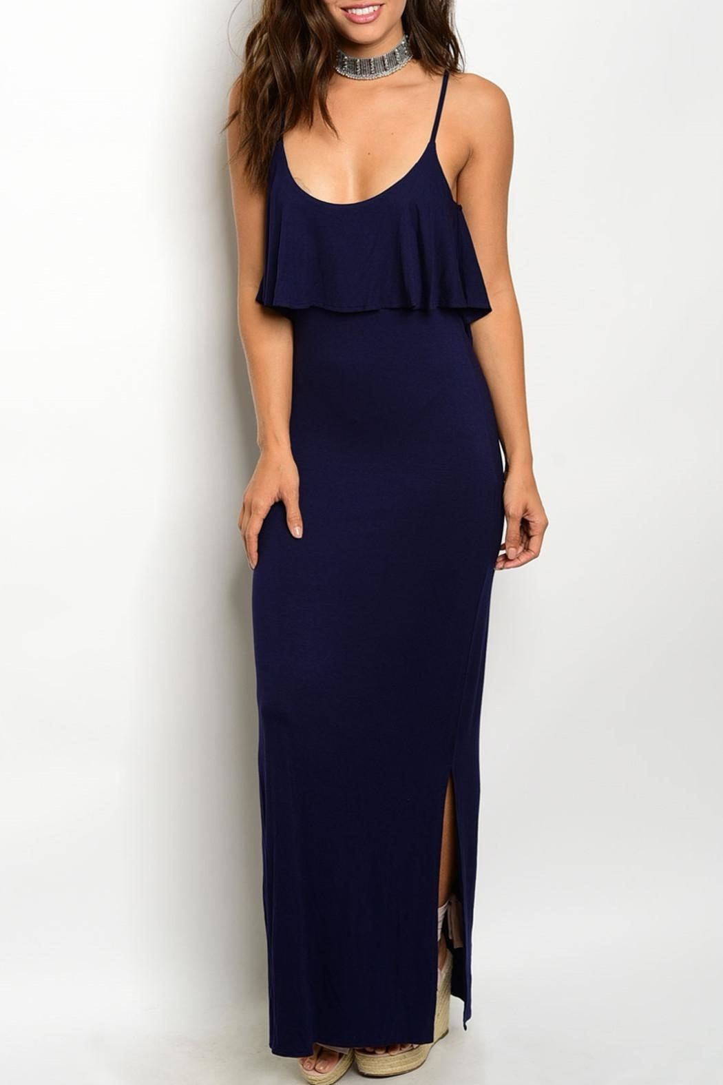 Timing Navy Strap Maxi Dress - Front Cropped Image