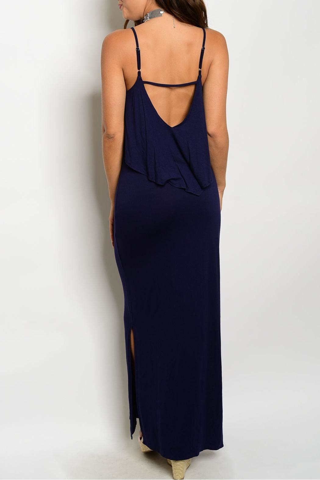 Timing Navy Strap Maxi Dress - Front Full Image