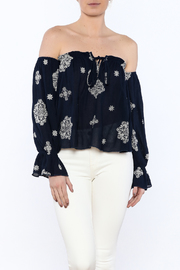 Timing Printed Off-Shoulder Blouse - Product Mini Image