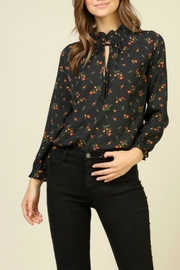 Timing Printed Tie-Neck Blouse - Product Mini Image