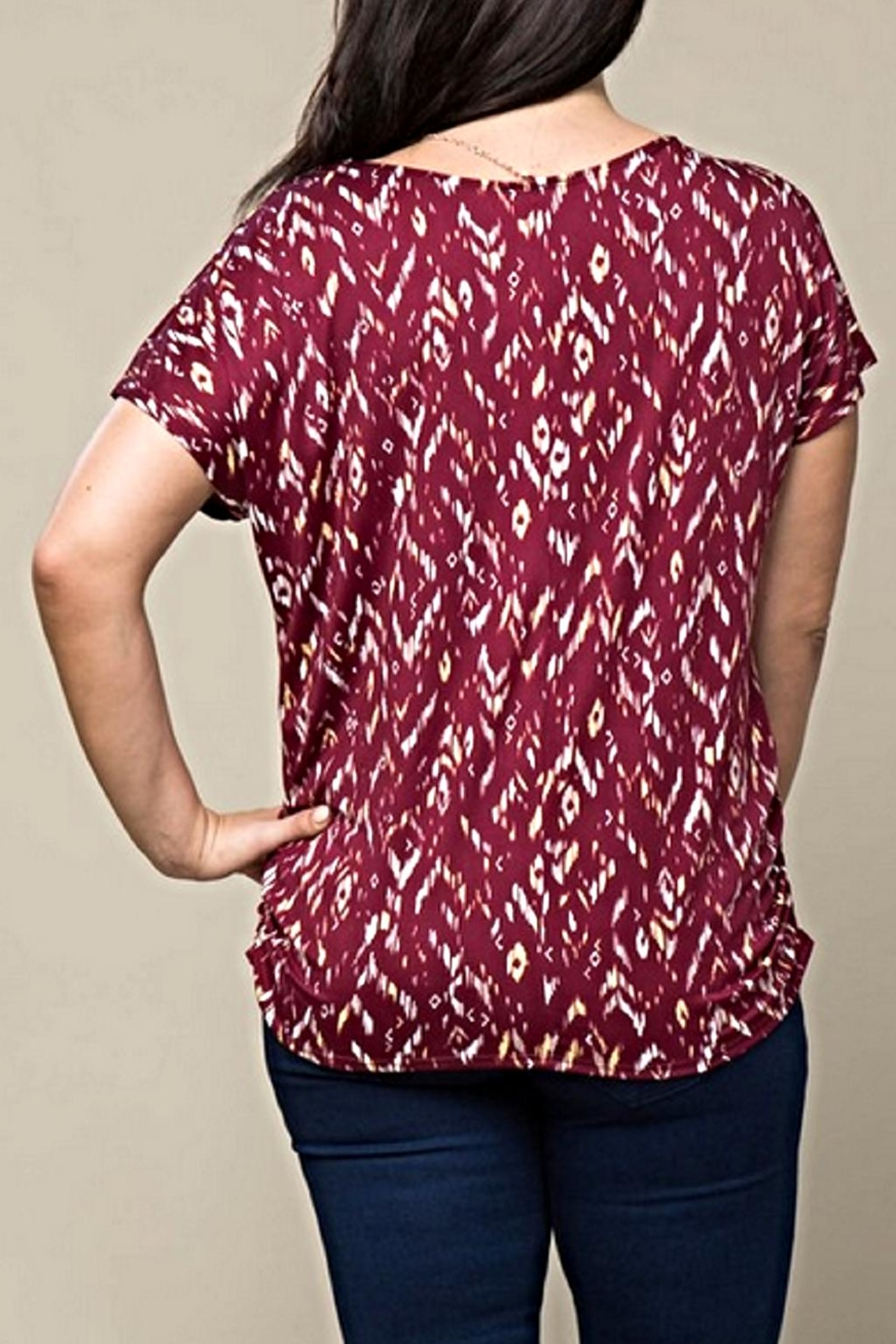 Timing Ruched Print Top - Front Full Image