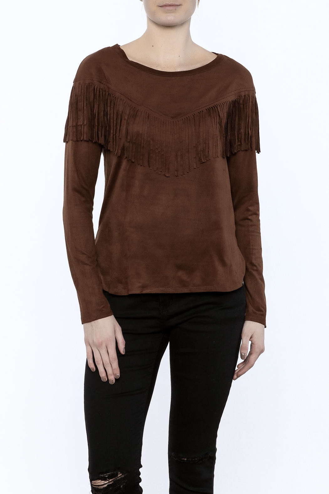 Timing Faux Suede Fringe Top - Main Image