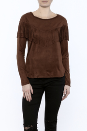 Timing Faux Suede Fringe Top - Front cropped