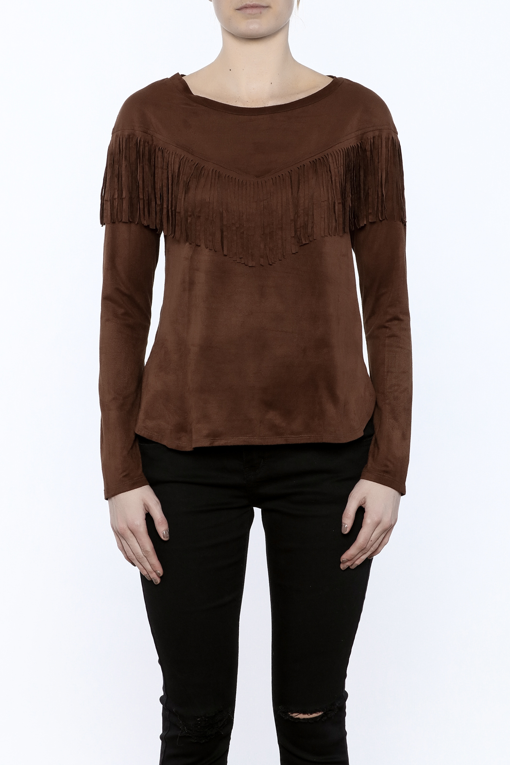 Timing Faux Suede Fringe Top - Side Cropped Image