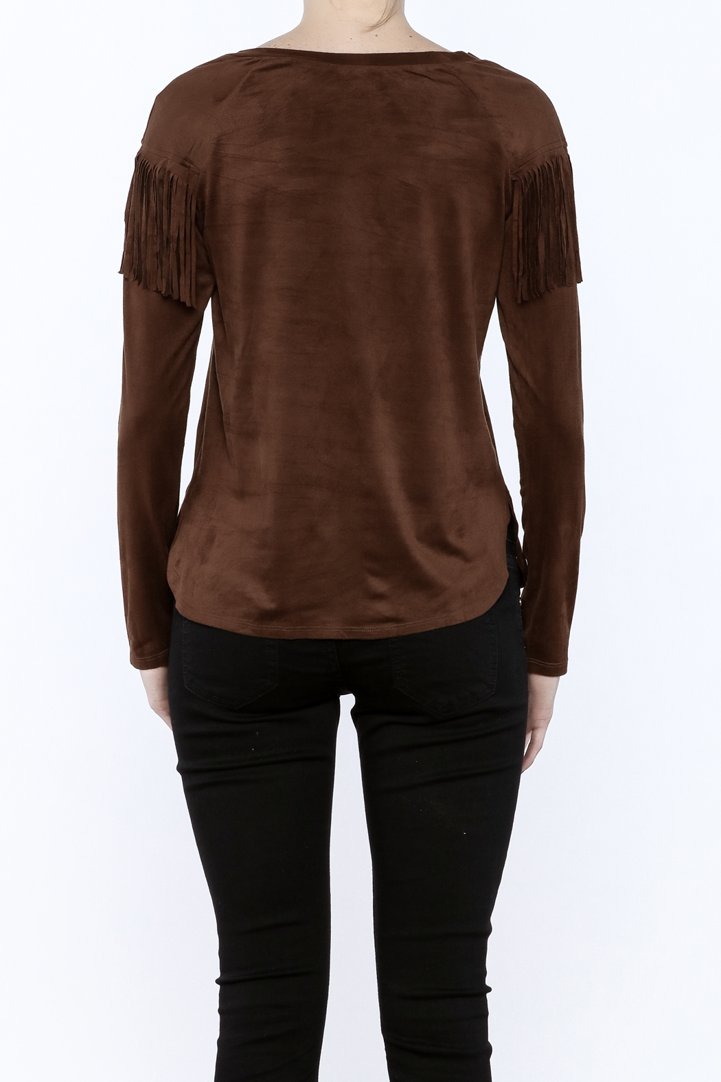 Timing Faux Suede Fringe Top - Back Cropped Image