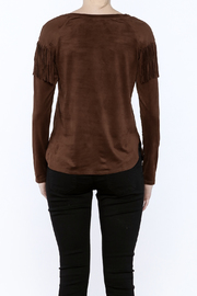 Timing Faux Suede Fringe Top - Back cropped