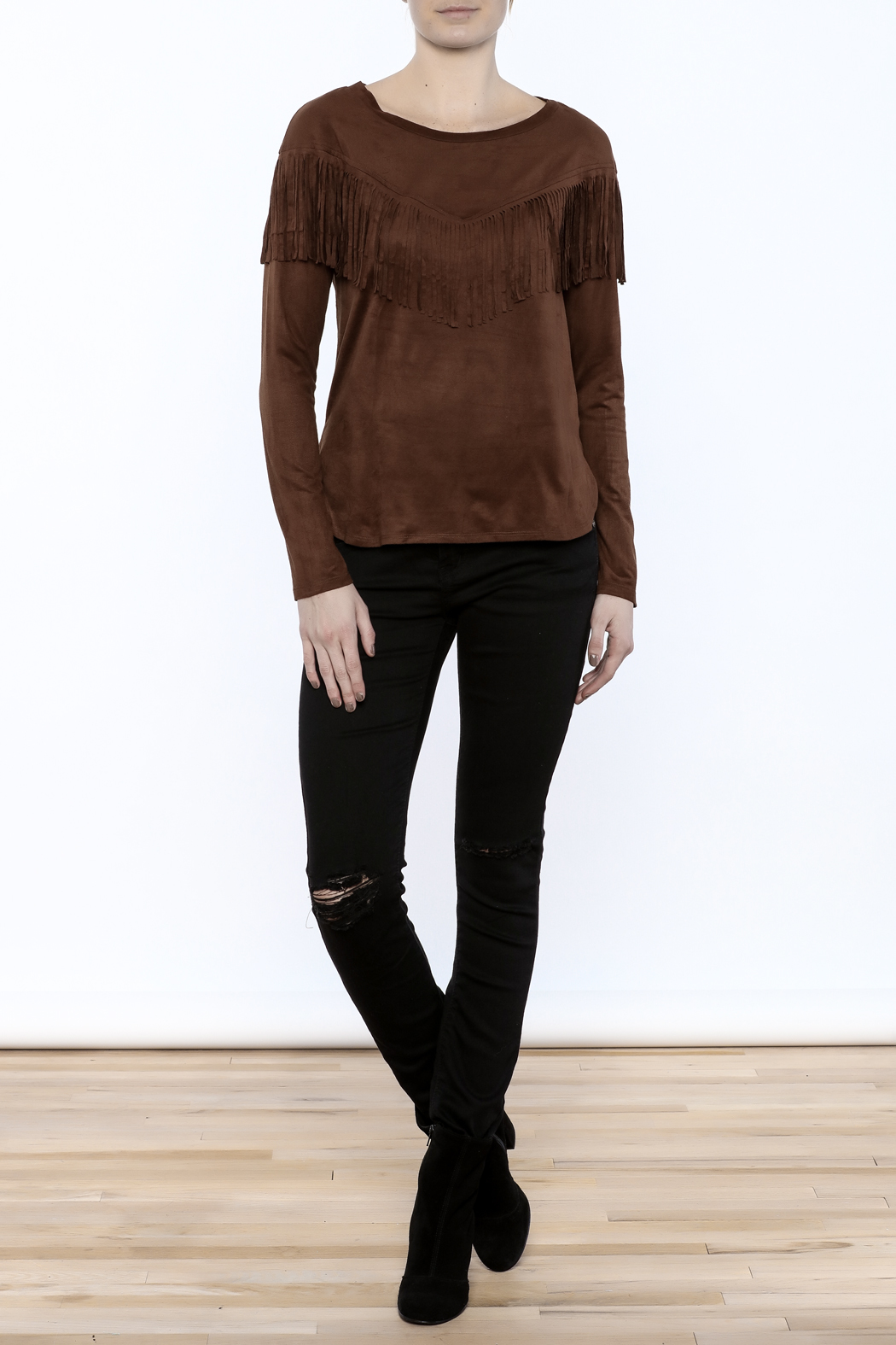 Timing Faux Suede Fringe Top - Front Full Image