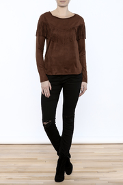 Timing Faux Suede Fringe Top - Front full body