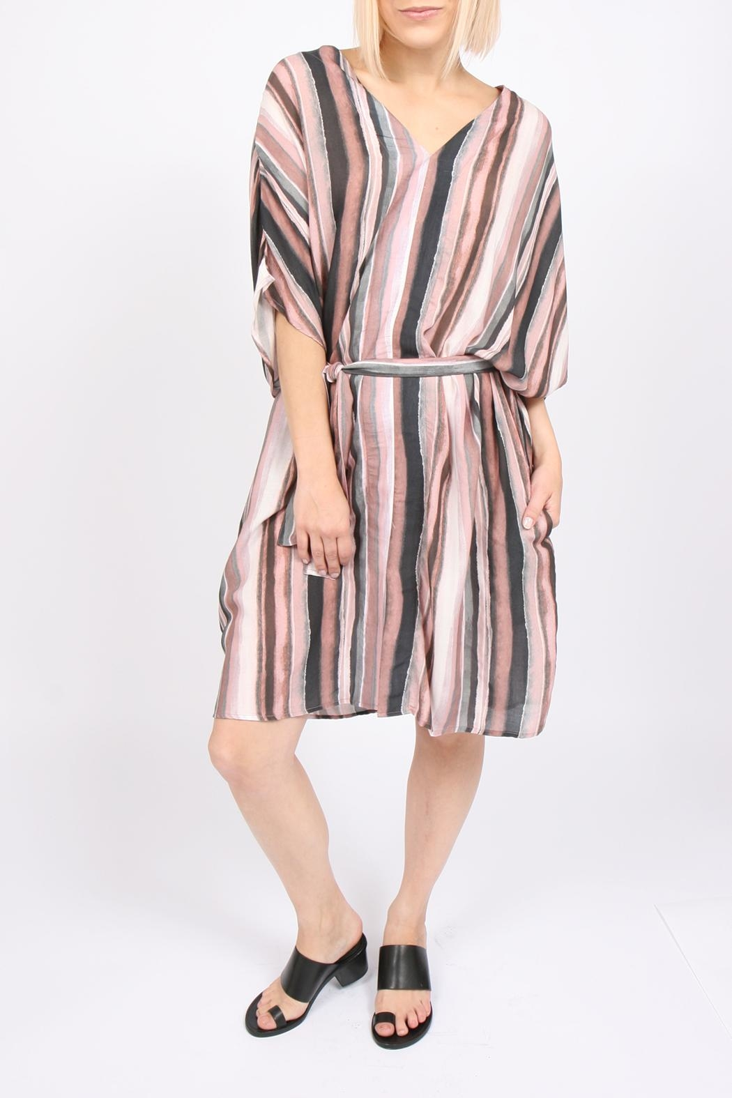 Tina + Jo Sadona Stripe Kaftan-Dress - Back Cropped Image