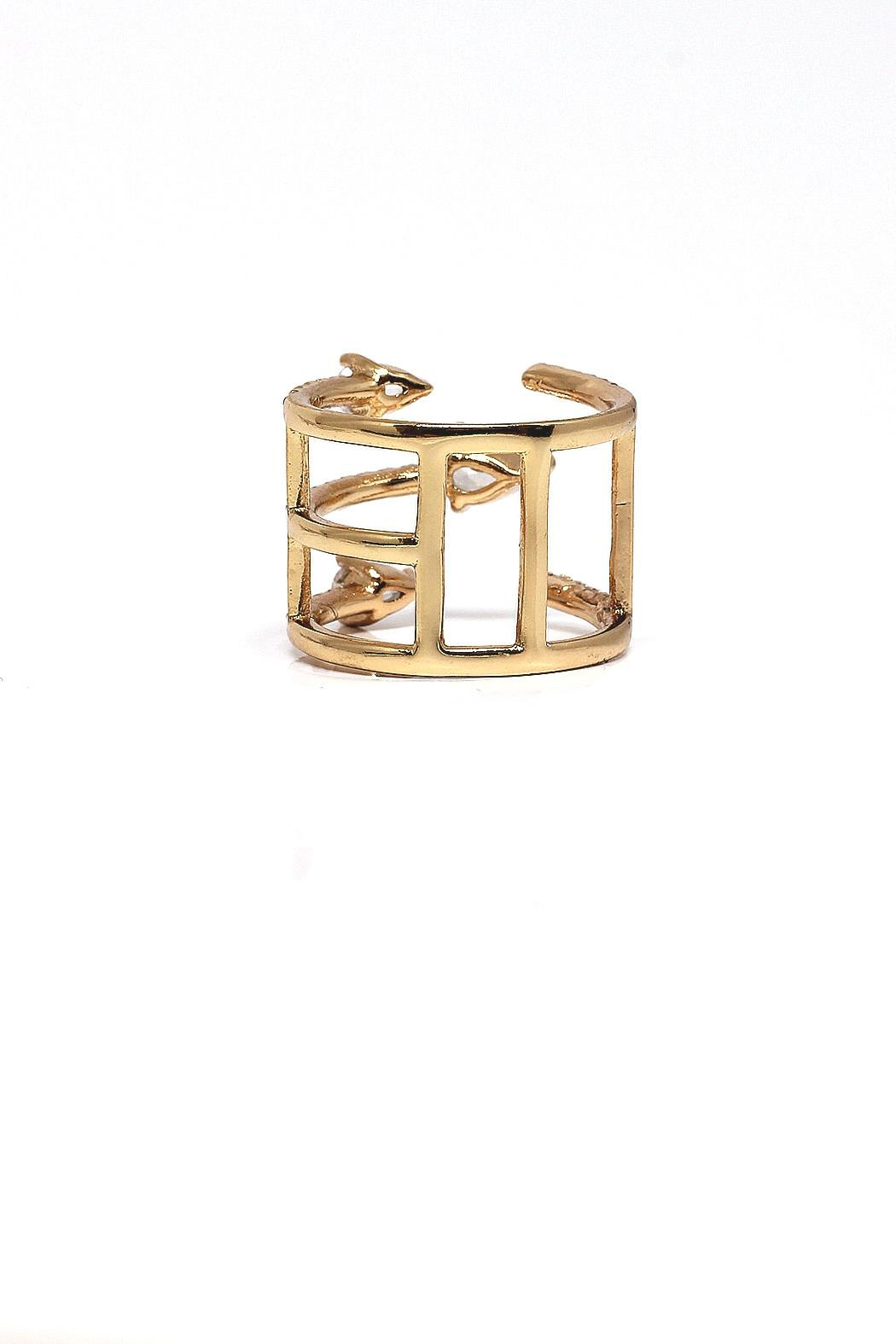 TINK TINK Adjustable Gold Plated Ring - Front Full Image