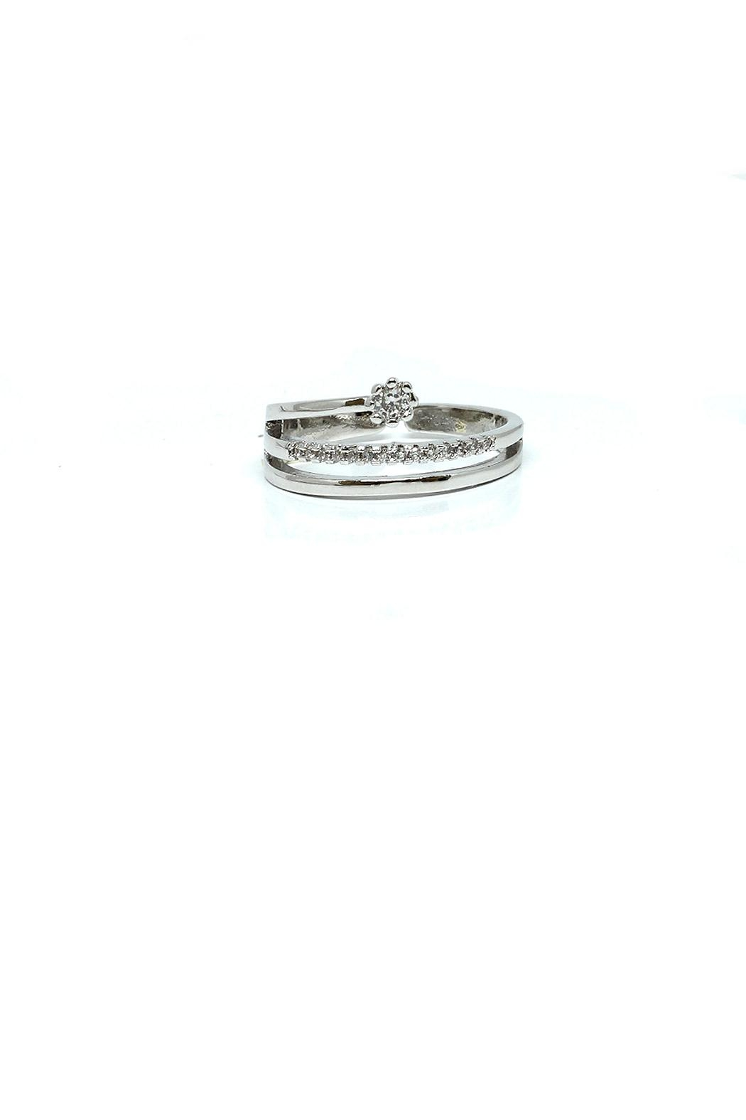 TINK TINK Adjustable Rhodium Ring - Front Cropped Image