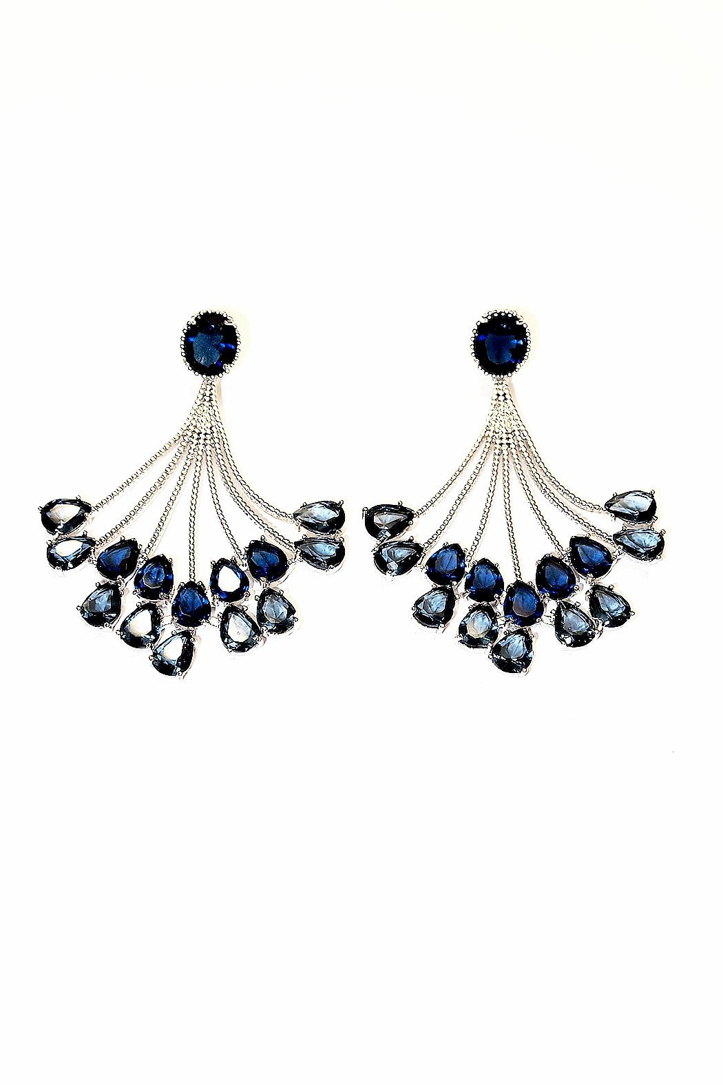 TINK TINK Blue Chandelier Earrings - Front Cropped Image