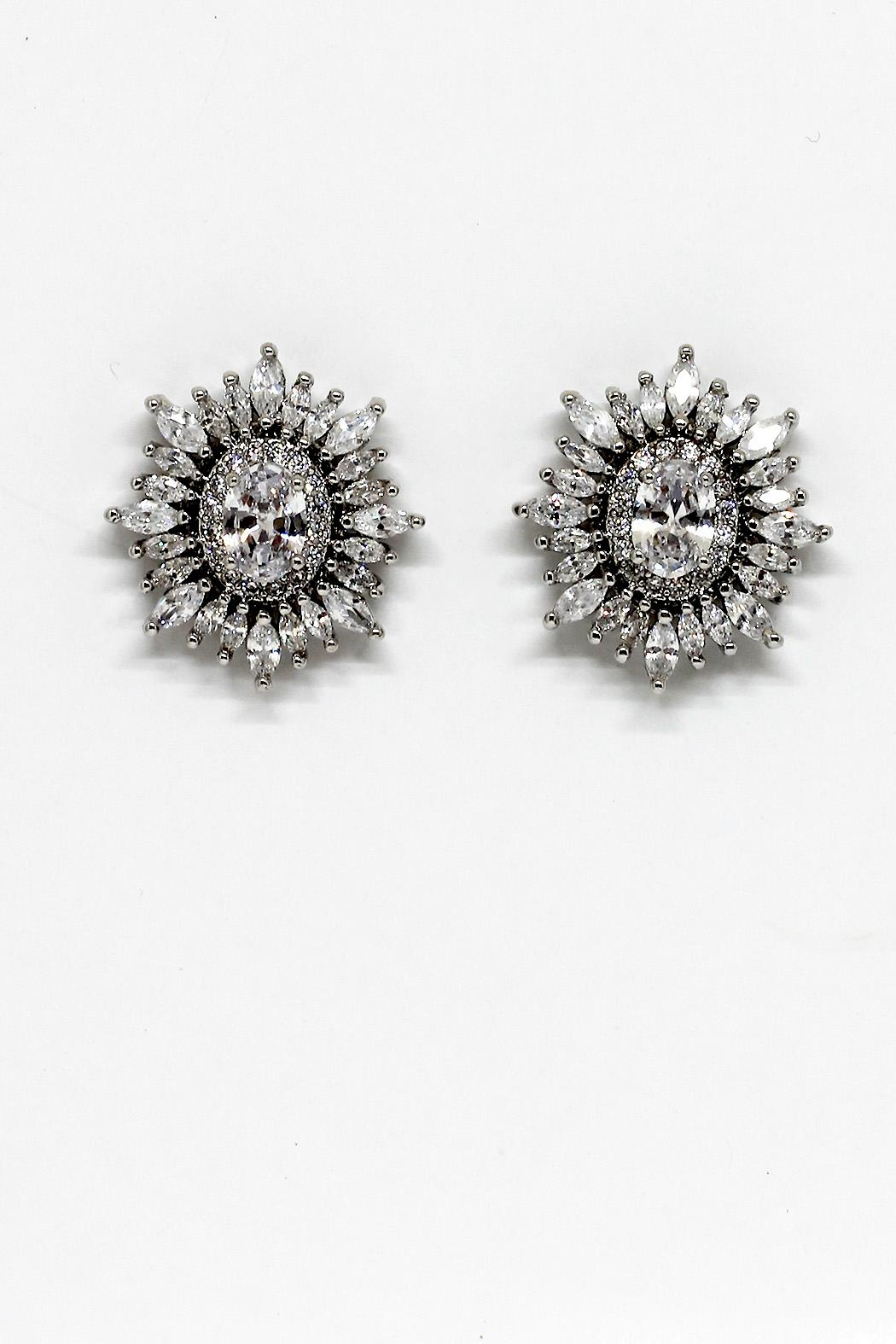 TINK TINK Oval Embellished Studs Earrngs - Main Image