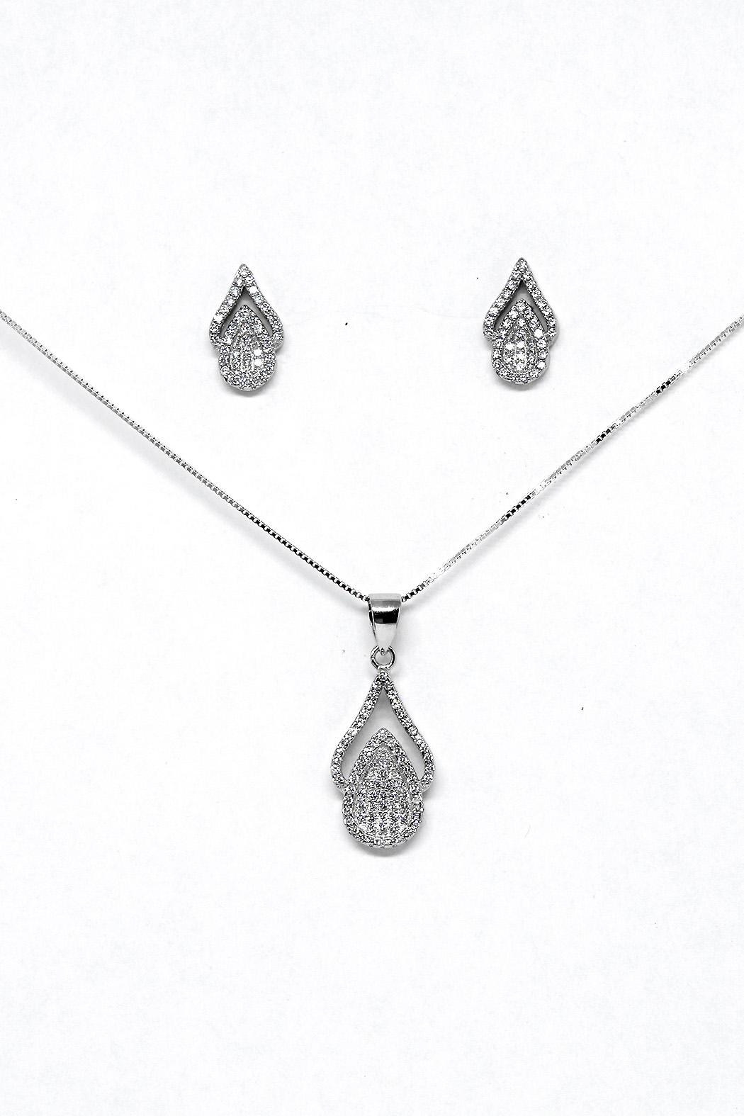 TINK TINK Oval Silver Necklace Set - Main Image