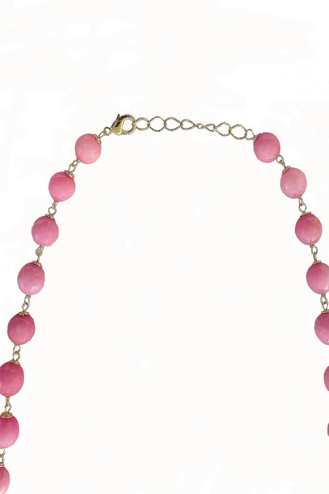 TINK TINK Pink Stone Necklace - Front Full Image