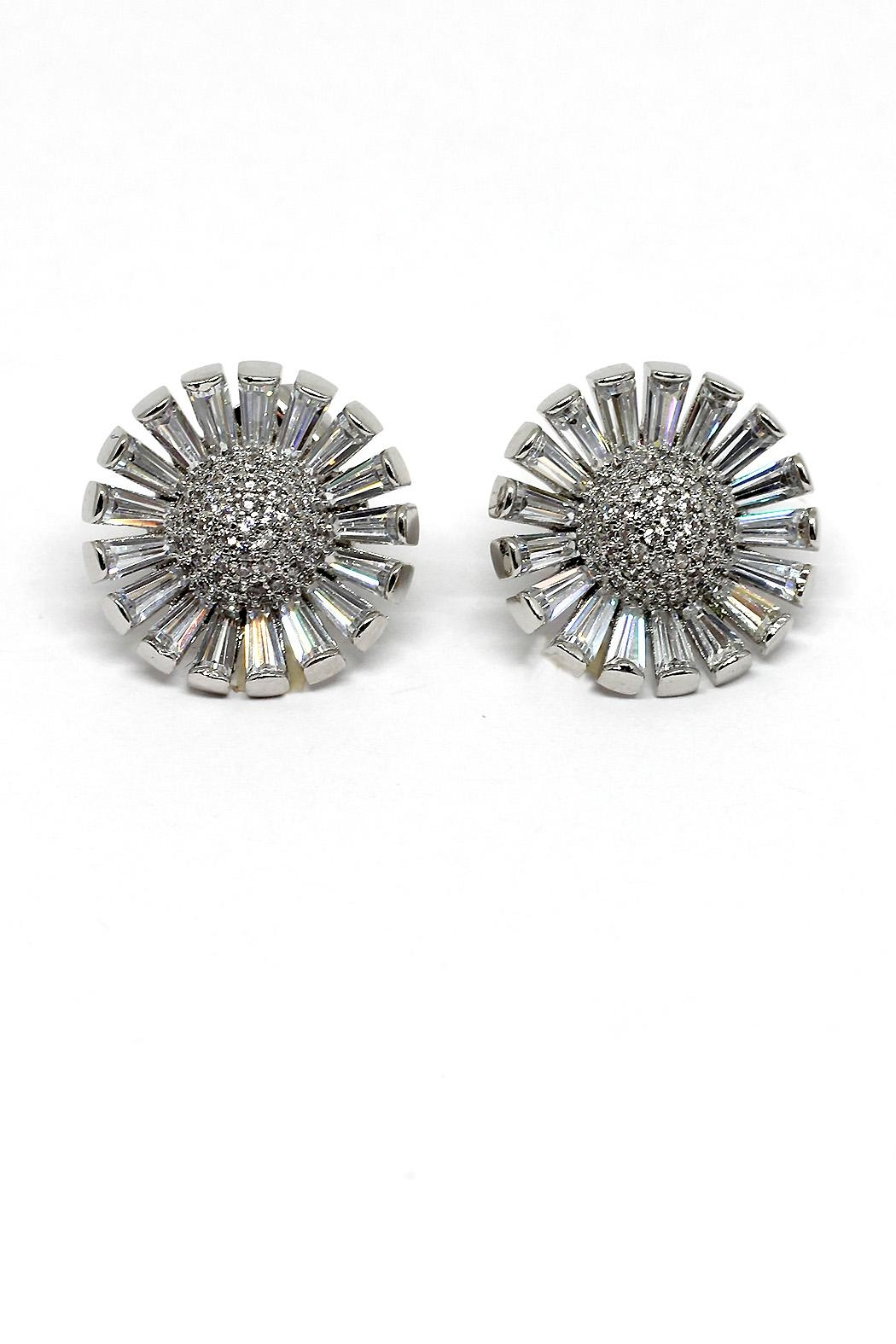 TINK TINK Rhodium Flowers Stud Earrings - Main Image