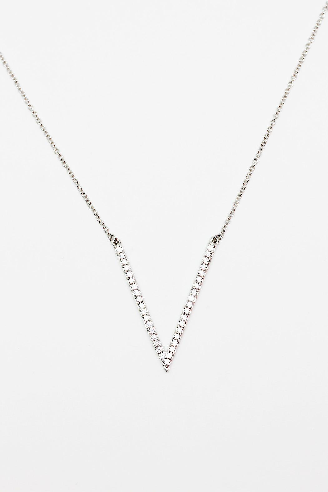 TINK TINK Rhodium Necklace & Zirconia - Front Cropped Image