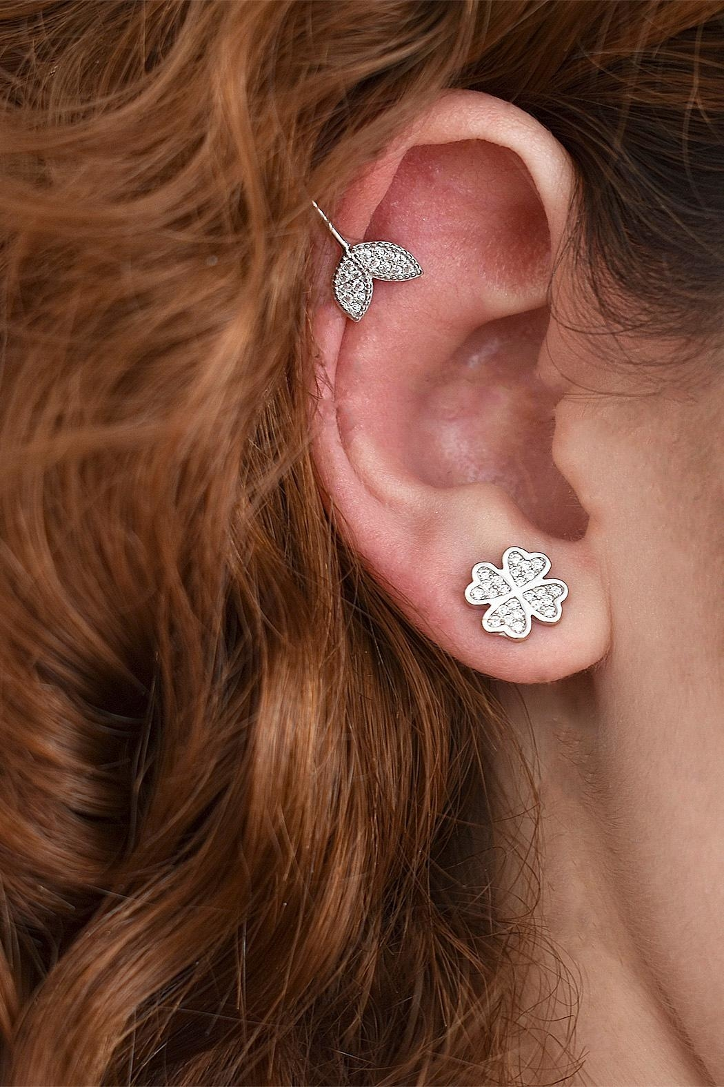 TINK TINK Silver Cuff Earrings - Front Full Image