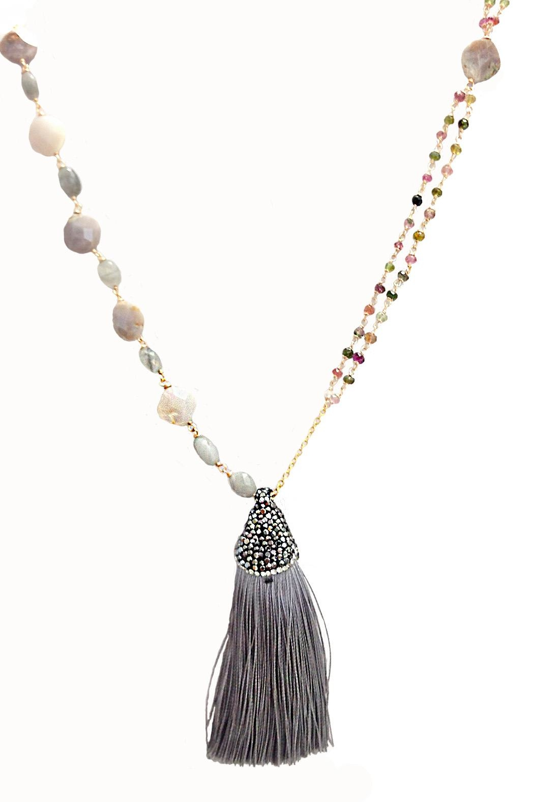 TINK TINK Stones Tassel Necklace - Main Image