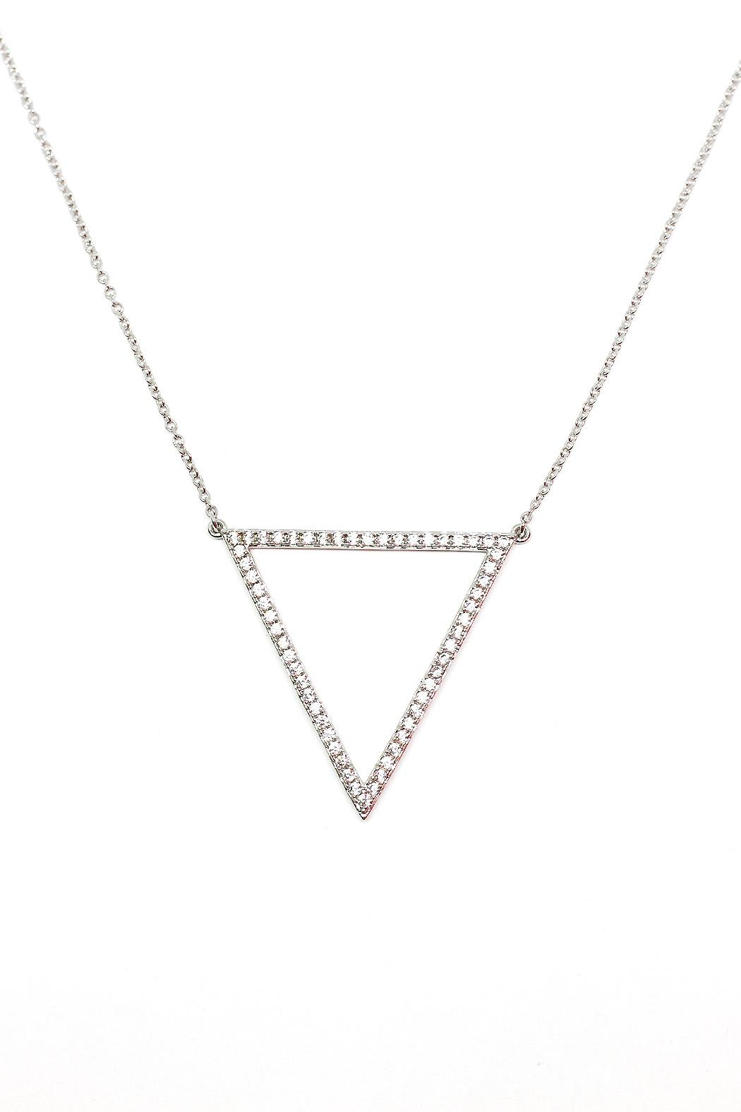 TINK TINK Triangular Rhodium Necklace - Front Cropped Image