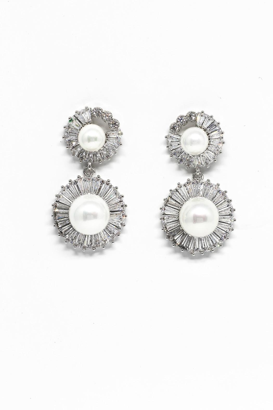 TINK TINK Zirconia Pearl Earrings - Main Image