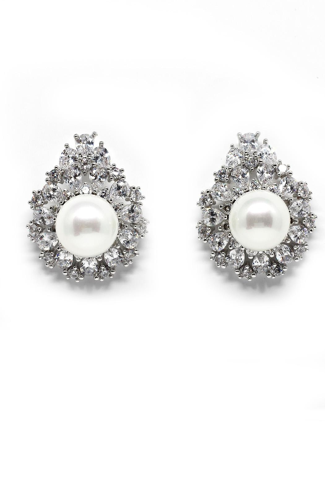TINK TINK Zirconia Pearl Studs - Front Cropped Image