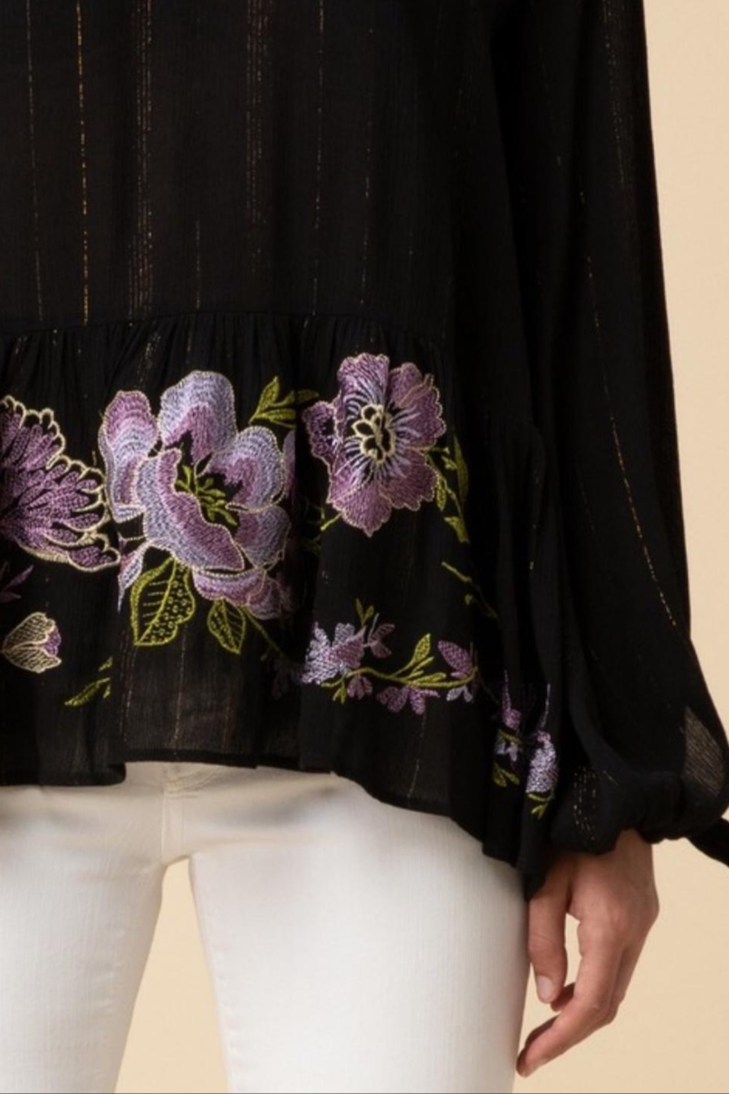 Entro Tinsel Threaded Blouse - Side Cropped Image