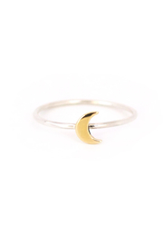Brownen Tiny Charm Ring - Mixed Metal Moon - Front cropped