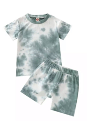 Tiny Trendsetter  Tiny Green Tie Dye Two-Piece Sport Shortie Set - Product Mini Image
