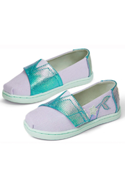 TOMS Tiny Lavender Blue Canvas Iridescent Snake - Front full body